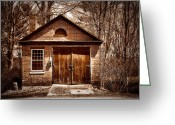 Cabin Window Greeting Cards - Sepia Barn Greeting Card by Tricia Marchlik