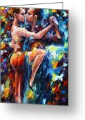 Leonid Afremov Greeting Cards - Serious Tango Greeting Card by Leonid Afremov