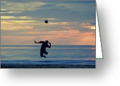 Surf Silhouette Greeting Cards - Serves Still Up.. Greeting Card by A Rey