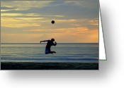 Surf Silhouette Greeting Cards - Serves Up.. Greeting Card by A Rey