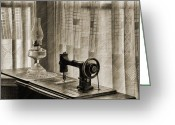 Oil Lamp Greeting Cards - Sewing Machine Greeting Card by Mike Fitton