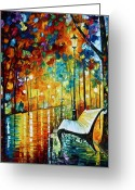 Leonid Afremov Greeting Cards - She Left.... new version Greeting Card by Leonid Afremov