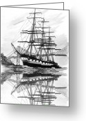 San Francisco Drawings Greeting Cards - Ship Balclutha San Francisco By Greeting Card by Jack Pumphrey