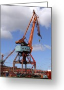 Grapple Greeting Cards - Shipping Industry Crane 06 Greeting Card by Antony McAulay