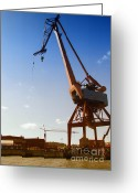 Grapple Greeting Cards - Shipping Industry Dock Greeting Card by Antony McAulay