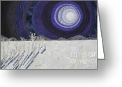 Moonlight Tapestries - Textiles Greeting Cards - Siberian Moonlight Sonata Greeting Card by Patricia Gould