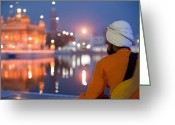 Prayer Warrior Greeting Cards - Sikh warrior at  Golden Temple Greeting Card by Perfect Lazybones