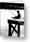 Book Cover Greeting Cards - Silhouette of a Boy fishing from a dock on lake or pond.  Greeting Card by JT PhotoDesign
