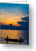 Sabah Greeting Cards - Silhouette on peaceful sunset Borneo Malaysia Greeting Card by Fototrav Print