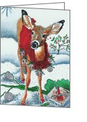 Rescue Animal Greeting Cards - Silver Bells Greeting Card by Joy DiNardo Bradley         DiNardo Designs