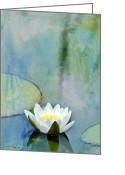 White Flower Greeting Cards - Single White Water Lily Greeting Card by Rebecca Cozart