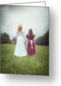 Hugging Greeting Cards - Sisters Greeting Card by Joana Kruse