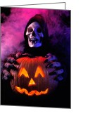 Costumes Greeting Cards - Skeleton holding pumpkin  Greeting Card by Garry Gay