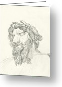 Reverence Drawings Greeting Cards - Sketch Sculpture by Bernini Greeting Card by Michael Shegrud