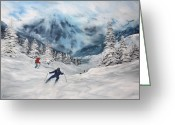 Log Cabins Painting Greeting Cards - Skiing in Italy Greeting Card by Jean Walker