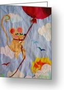 Tuxedo Mixed Media Greeting Cards - Sky Rider Greeting Card by Diane  Miller