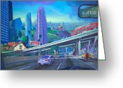 California Painting Greeting Cards - Skyfall Double Vision Greeting Card by Art West