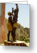 African Heritage Greeting Cards - Slave Memorial Statue Ile Goree Dakar Senegal West Africa Greeting Card by Robert Ford