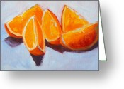 Tangerines Greeting Cards - Sliced Greeting Card by Nancy Merkle