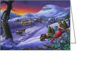 Sleigh Ride Greeting Cards - Small Town Cardinals Christmas Sleigh Ride Farm Landscape 5x7 greeting card Greeting Card by Walt Curlee