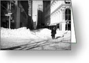 Snow Storm Prints Greeting Cards - Snow on Broadway 1990s Greeting Card by John Rizzuto