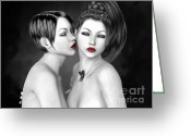 To Kiss Greeting Cards - Snuggle Greeting Card by Alexander Butler