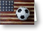 Soccer Greeting Cards - Soccer ball and stars and stripes Greeting Card by Garry Gay