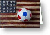 Soccer Greeting Cards - Soccer ball on American flag Greeting Card by Garry Gay