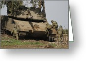 Featured Greeting Cards - Soldiers Climb Into An Israel Defense Greeting Card by Ofer Zidon