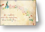 Children Music Greeting Cards - Somewhere Over the Rainbow Greeting Card by Nikki Marie Smith