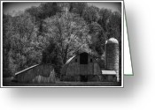 Black And White Barn Greeting Cards - Southwest Wisconsin Barn Black and White Greeting Card by Thomas Young