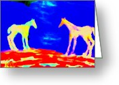Sympathy Painting Greeting Cards - Space for horses Greeting Card by Hilde Widerberg