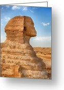 Ancient Tomb Greeting Cards - Sphinx profile Greeting Card by Jane Rix