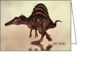 Natural History Greeting Cards - Spinosaurus Dinosaur Greeting Card by Bob Orsillo