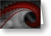 Staircase Greeting Cards - Spiral Staircase Greeting Card by Dapixara Art