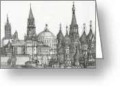 Reverence Drawings Greeting Cards - Spires2 Greeting Card by Michael Shegrud