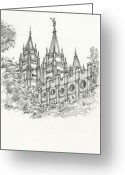 Reverence Drawings Greeting Cards - Spires3 Greeting Card by Michael Shegrud