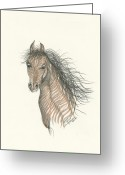 Muscular Drawings Greeting Cards - Spirit Greeting Card by Michael Shegrud