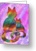 Nick Gustafson Greeting Cards - Splatter Cats 2 Greeting Card by Nick Gustafson