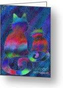 Nick Gustafson Greeting Cards - Splatter Cats Greeting Card by Nick Gustafson