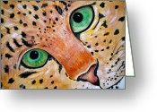 Black Leopard Greeting Cards - Spotted Greeting Card by Debi Pople
