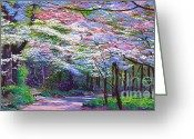 Spring Scenes Painting Greeting Cards - Spring Blossom Pathway Greeting Card by David Lloyd Glover