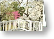 Scenic Glass Art Greeting Cards - Spring Porch Greeting Card by Hans Castleberg