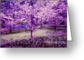 Jenny Rainbow Greeting Cards - Spring Wonderland Pastel. Garden Keukenhof. Netherlands Greeting Card by Jenny Rainbow