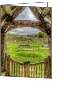 Old Wall Digital Art Greeting Cards - St Celynnin Graveyard Greeting Card by Adrian Evans