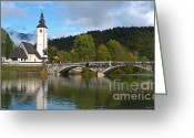 Lake Bohinj Greeting Cards - St Johns Church Bohinj Greeting Card by Phil Banks