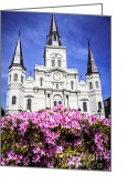 Roman Catholic Greeting Cards - St. Louis Cathedral and Flowers in New Orleans Greeting Card by Paul Velgos
