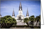 Roman Catholic Greeting Cards - St. Louis Cathedral in New Orleans  Greeting Card by Paul Velgos