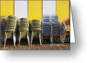 Aluminum Greeting Cards - Stacks of Chairs and Tables Greeting Card by Carlos Caetano