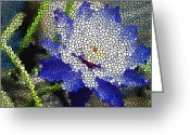 Religious Artwork Painting Greeting Cards - Stained Glass Blue Lotus Flower Greeting Card by Lanjee Chee